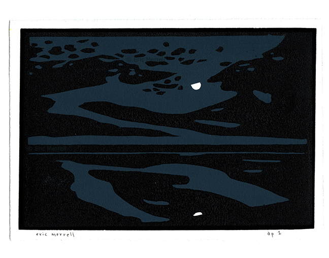 "Depths of the Night (The Salton Sea)  Linocut Image size 5.5"" x 7.5"", printed on Rives BFK paper Edition of 30 —  Purchase  —"