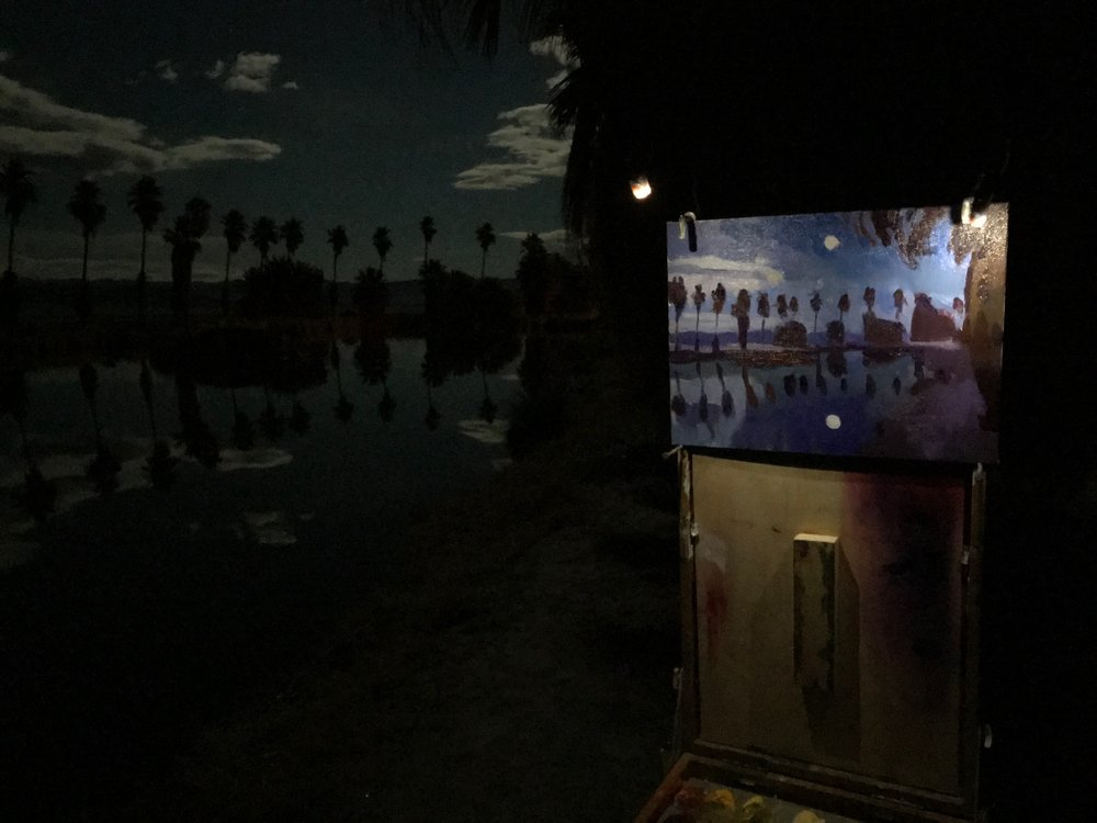 Full moon and reflection at the oasis.