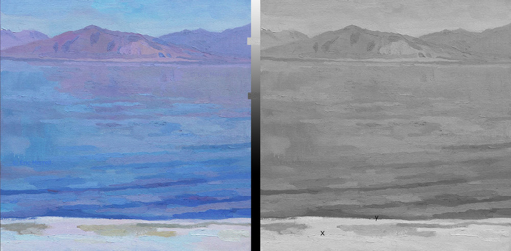 [Eric Merrell,  Distant and Dreamlike (The Salton Sea) ] Samples of the lightest spot (x) and the darkest spot (y) along the value scale. A very high key painting that needs color to work - with only gray tones, that distance of a few miles across the Sea flattens out to the picture plane. Value can't move laterally within the same value - color can.