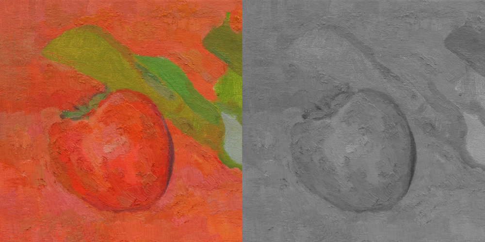 Detail: In areas such as this leaf, the green is intensely different from the surrounding orange. When reduced to just elements of value, the leaf disappears almost entirely. To make anything visible here with only value we would have to increase value contrast where there isn't any.