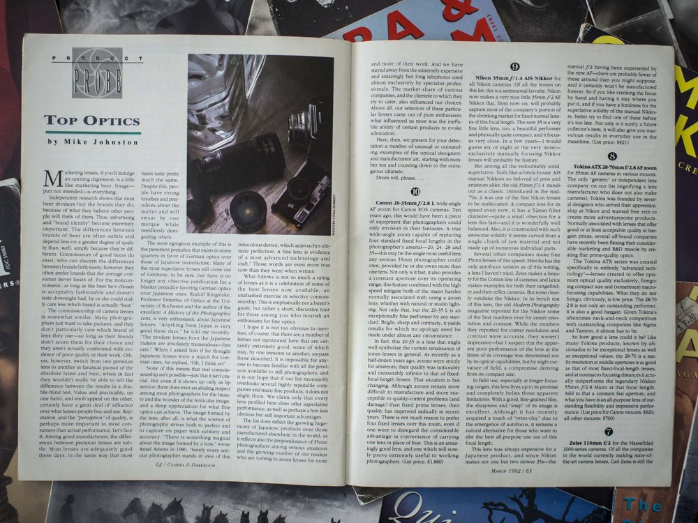 A rare camera tech article about some of the better glass around at the time. Even though the topic could be fairly sterile, the delivery is gentle and conversational. There were more often darkroom technical articles as darkroom work was/is mostly technical, but pure camera or lens articles were thinner on the ground. I savoured each.