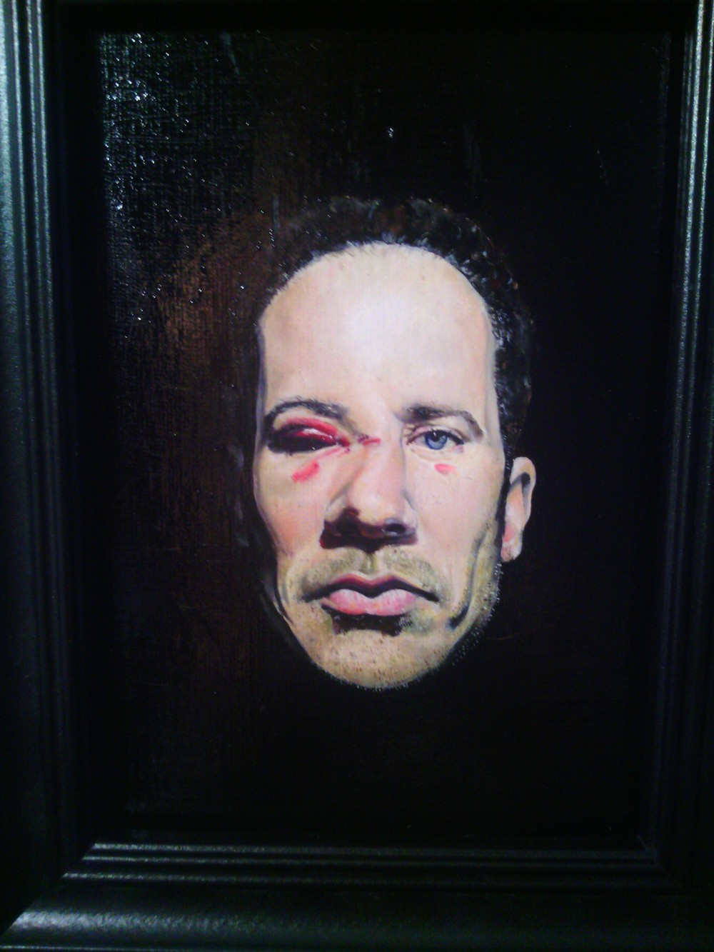 Portrait of my father with a broken nose - Oil