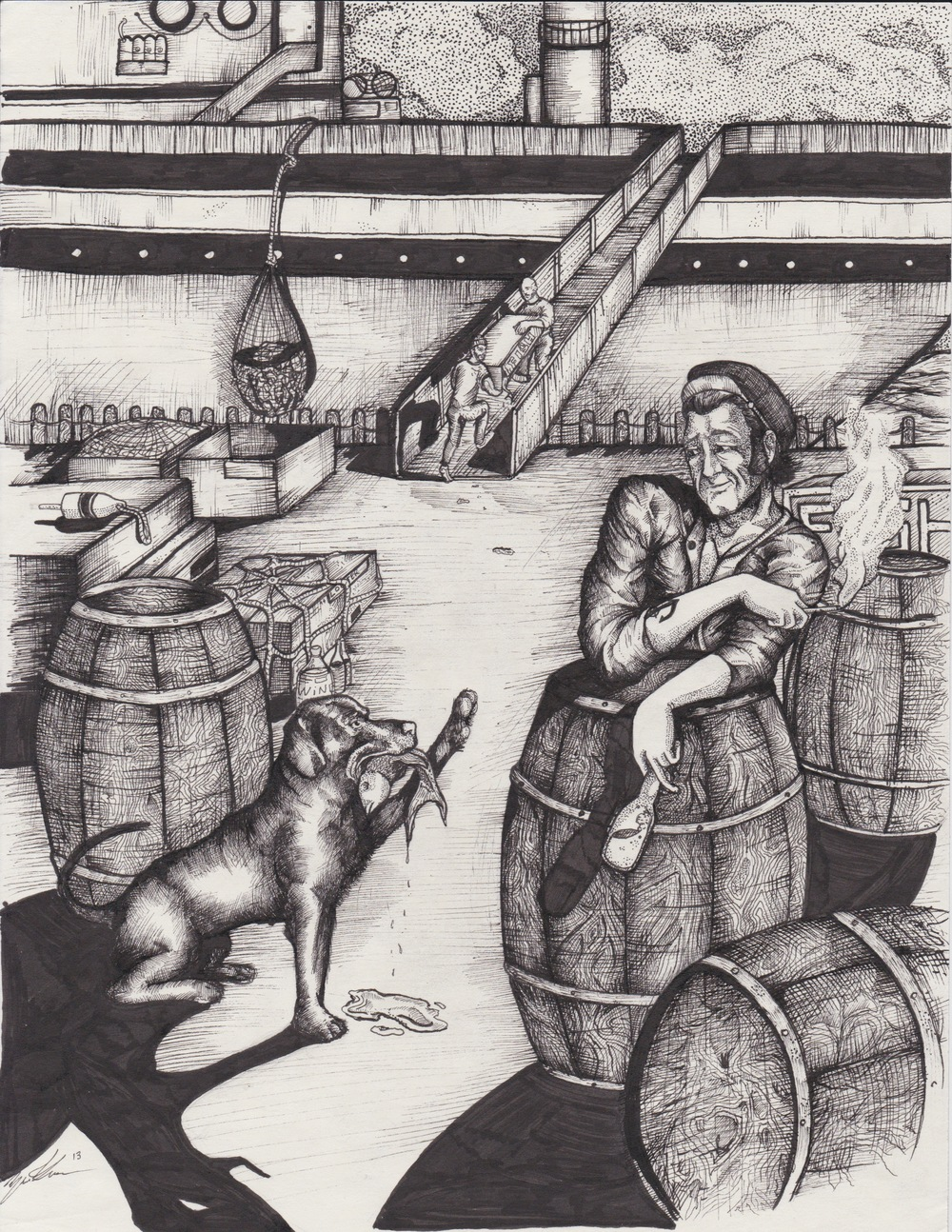 Sailor and Dog - Pen and Ink