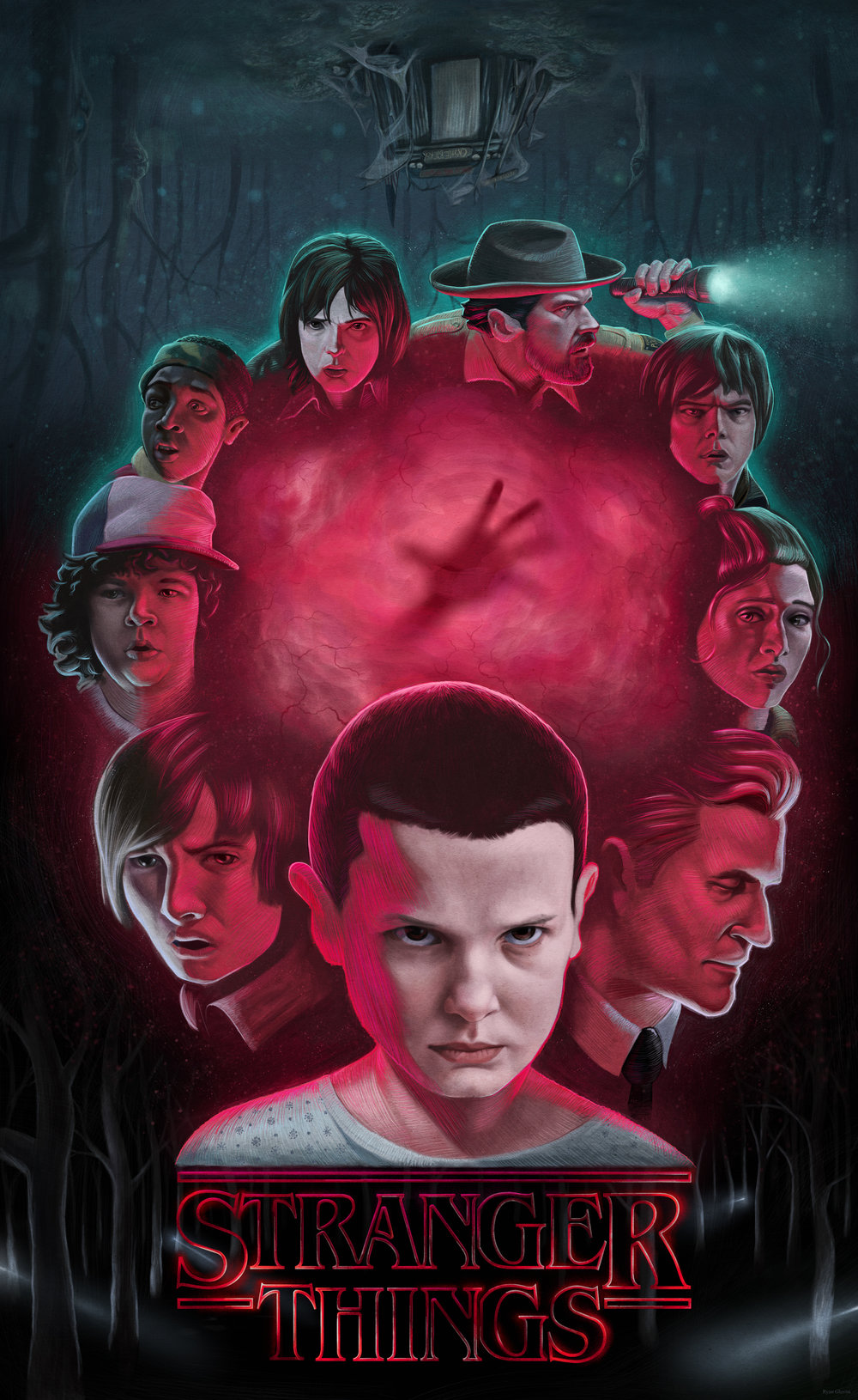 Stranger Things Illustrated Poster