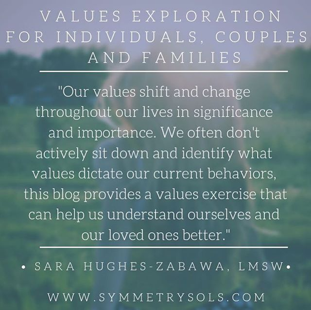 """If you know me professionally, you know I LOVE to talk about exploring our values.  I recently blogged about a values exercise I do with my individuals, couples, and families at the Symmerty Solutions, LLC blog.  I've seen magic happen and big """"ah-ha"""" moments for individuals in doing this exercise. It can be so important to clarify what our actions and behaviors look like when we are in alignment with our values and what shows up when we aren't. It would also be a great activity for a family night!  You can find the exercise in the link in my profile.  What are some of the values that are really resonating with your right now? My answer in the comments."""