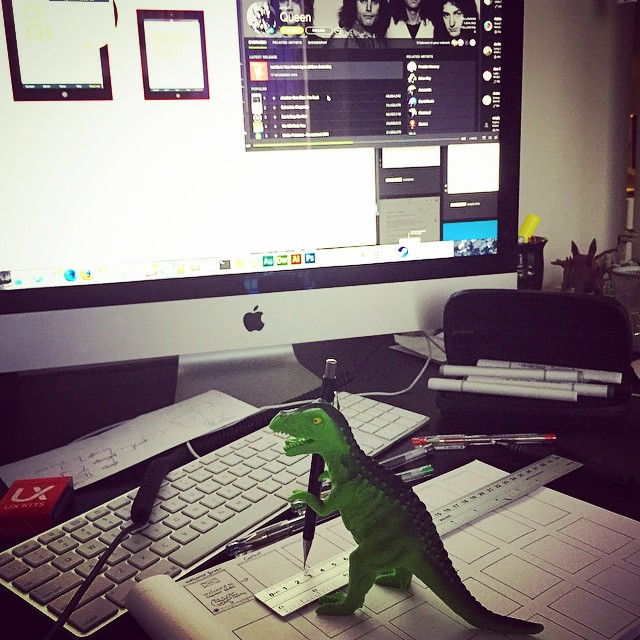 Yet another rare glimpse of #Theodore doing actual #UX #work while #listening to #Queen
