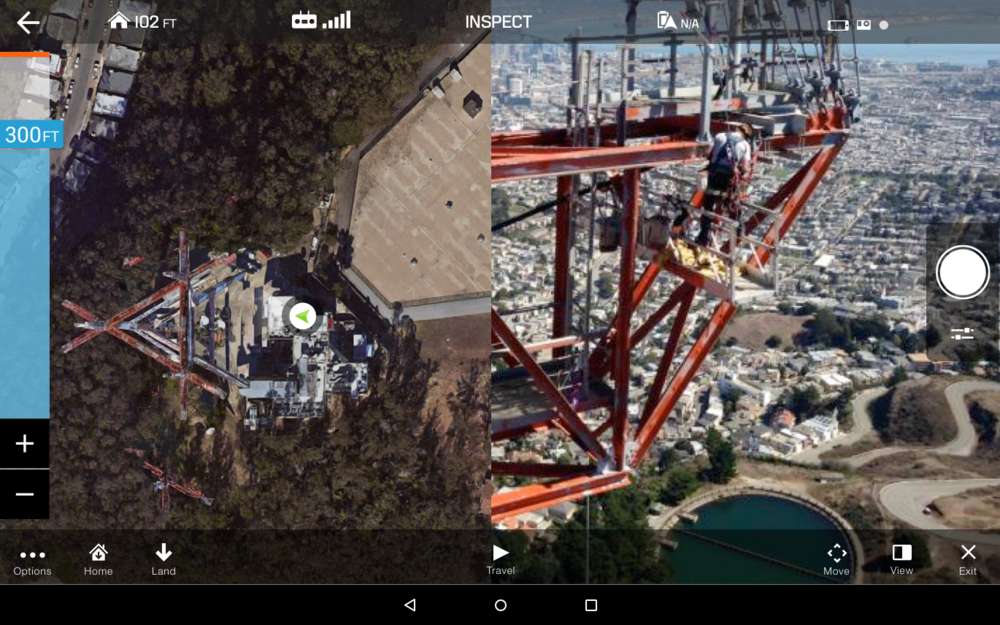 Split Screen view:  Gives the user both navigation control and visibility from the copters perspective, default view