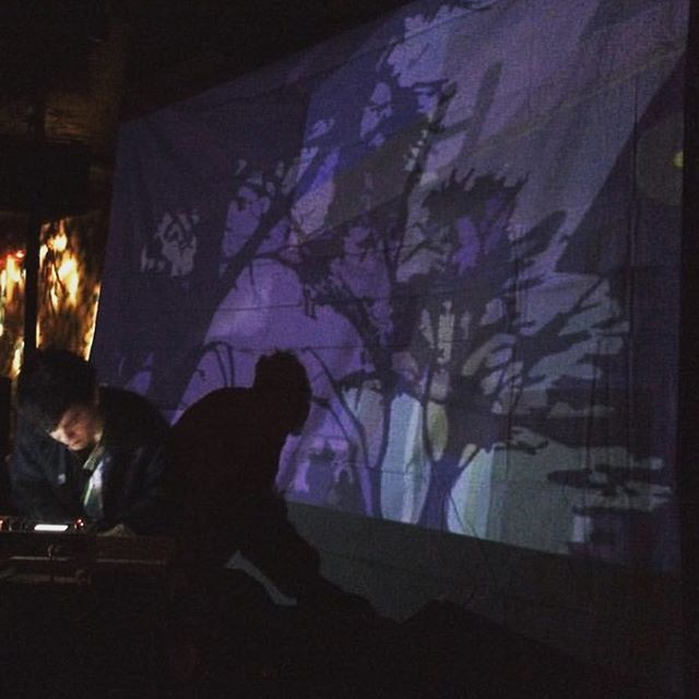 nice shot from @logan_t_ from his show @nublunyc with my animations #art #music #live #animation #vj #ghostly @ghostly #visuals