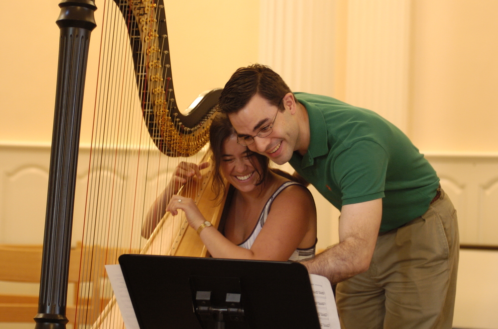"A light moment with Derek Greten-Harrison during the recording session for the Prelude to John Rutter's ""Dancing Day"""