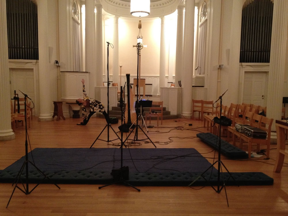 "Yoga in Marquand Chapel during a recording session for ""Hymn to the Dawn"""