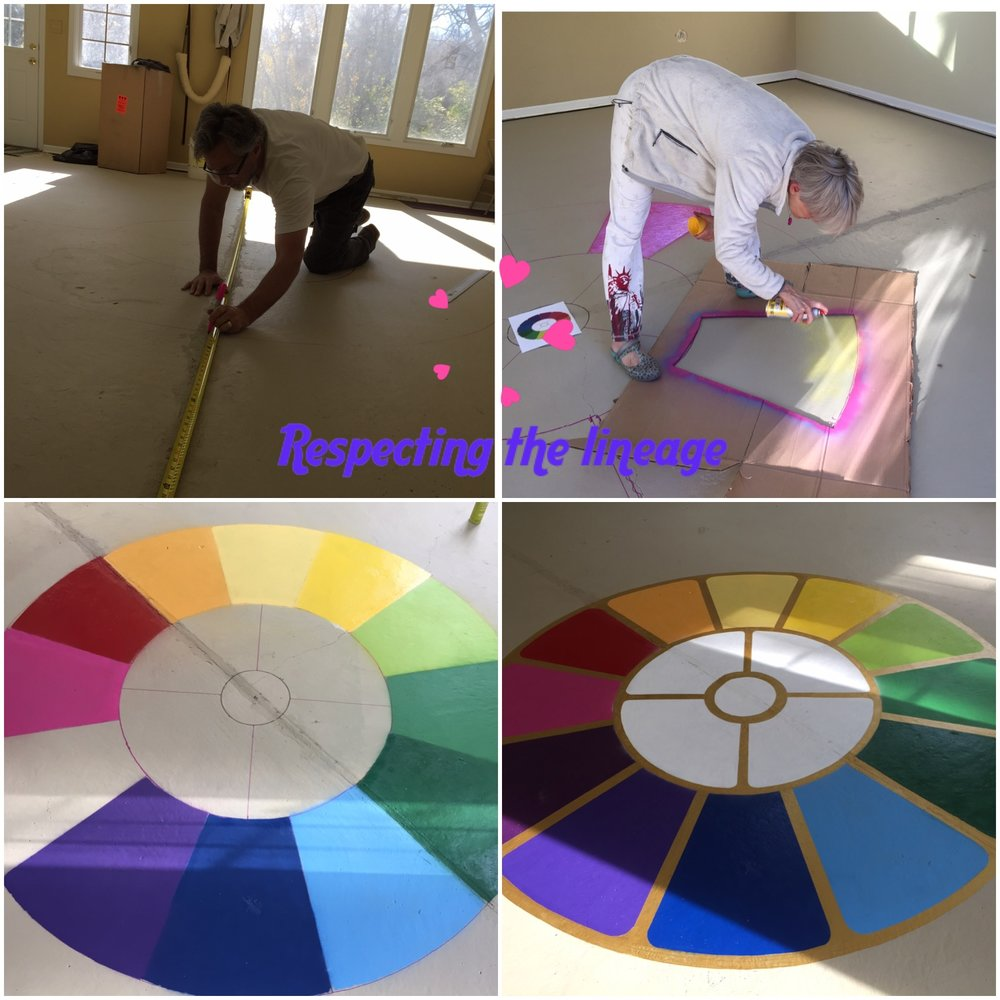 Purna yoga teacher raisha love installing the mother's symbol on the subflooring of her yoga studio in Ann ARbor, MI.  How would you like to have that holding you up every practice?!!