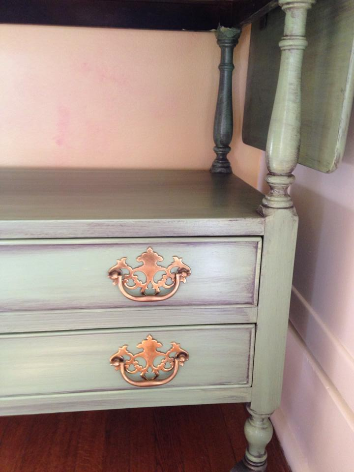 Painted tea cart with paint and coffee colored glaze wash in this Seattle home on Capitol Hill.