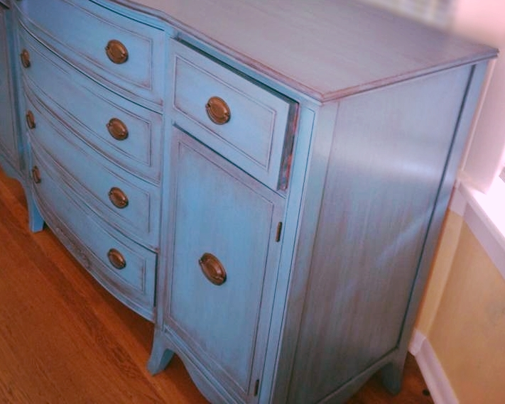 Painted dresser with paint and coffee colored glaze wash in Seattle Capitol Hill.