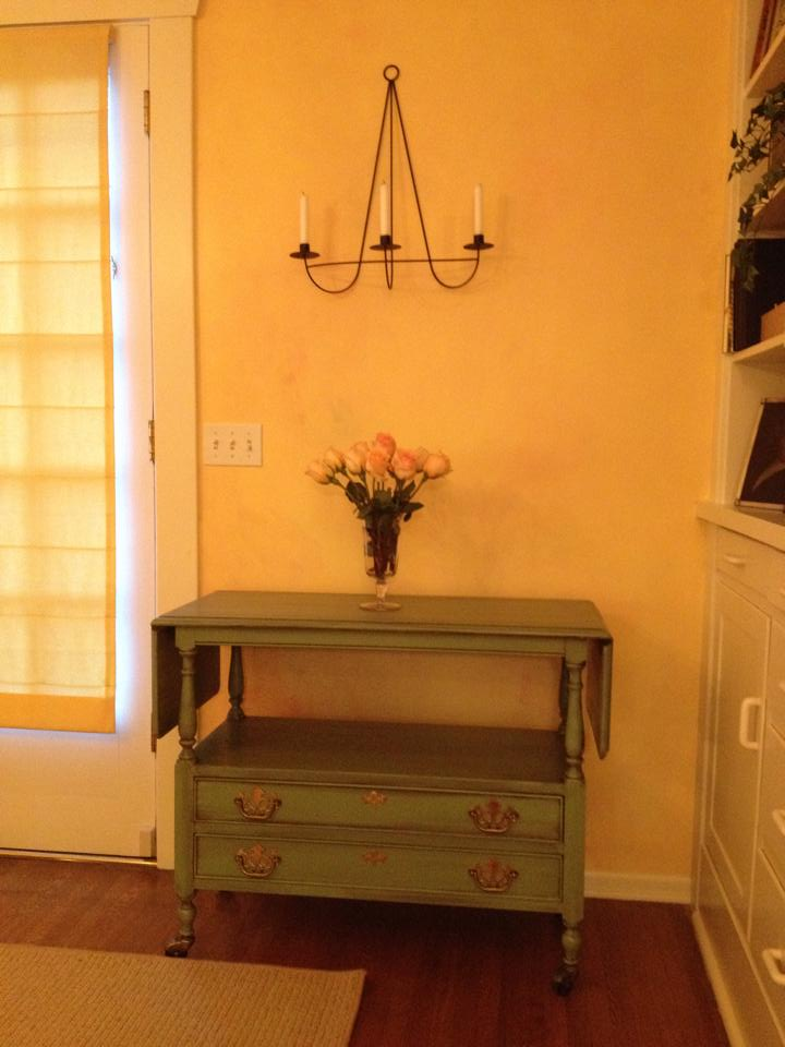 Painted tea cart with paint and coffee colored glaze wash.