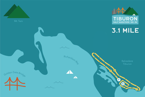 Tiburon Half Marathon 5K Map