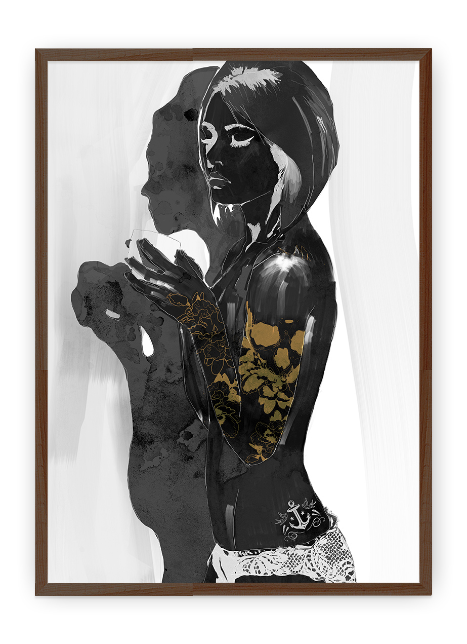 Inked Girl III - 2015 R$ 180,00   Tamanho - 42 x 29,7 cm Técnica - Pintura Digital Impressão Fine Art em papel Photo Fibre Matte 200g Hahnemuhle. Acabamento fosco.   Moldura apenas ilustrativa, o trabalho é enviado sem a moldura.    Sedex não incluso no valor.
