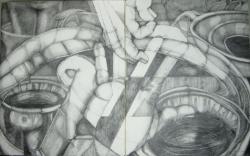 """Studio Shelf Stack"", Graphite on Rag Board, 60"" x 34"" x 1.5"", 2013"