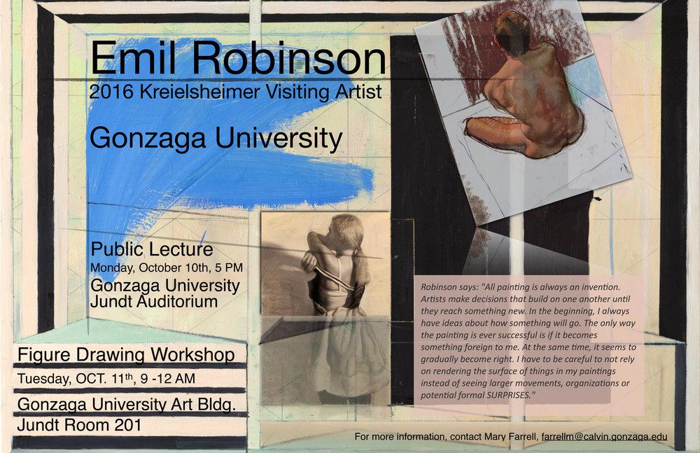 Kreielsheimer Visiting Artist Poster, Fall 2016, Gonzaga University, Spokane, WA