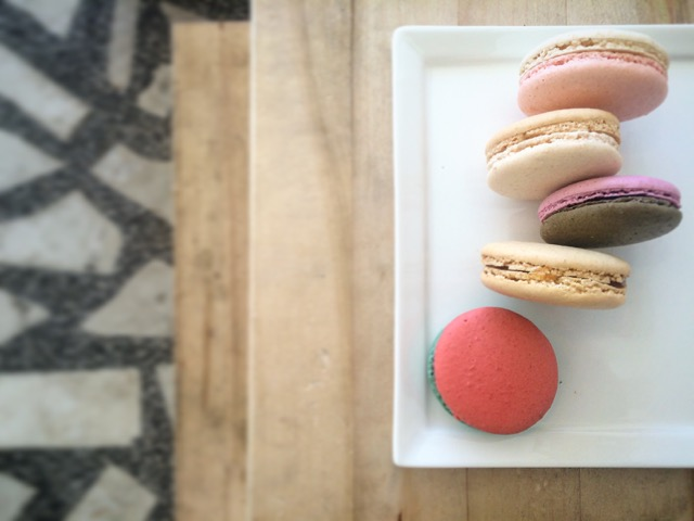 Macarons (from top to bottom):  Rose & Rhubarb / Caramelised White Chocolate / Raspberry & Dark Chocolate / Salted Butter Caramel / Strawberry & Basil