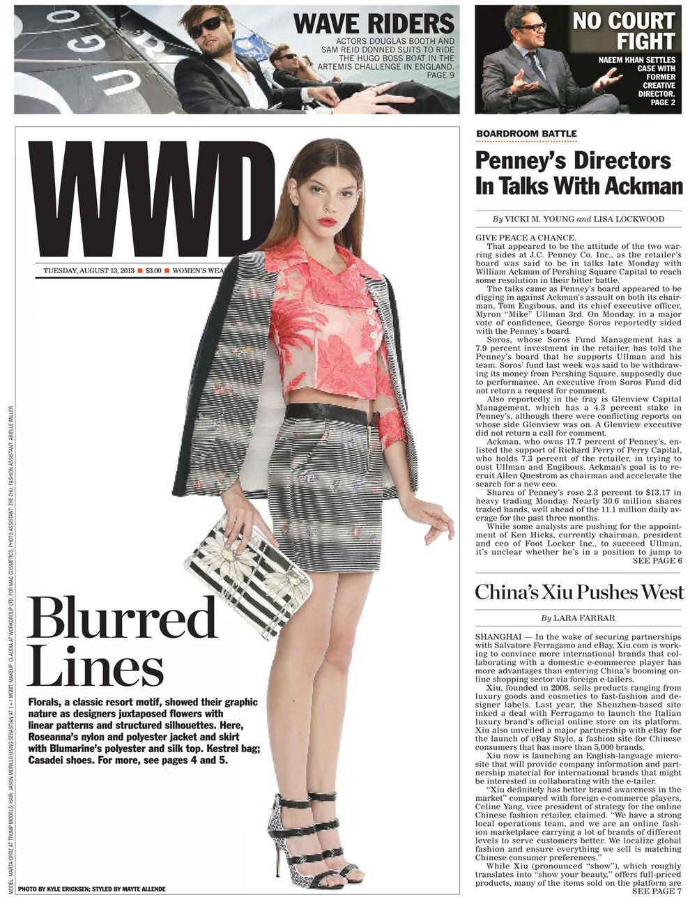 Bag on the cover of WWD 8.13.13