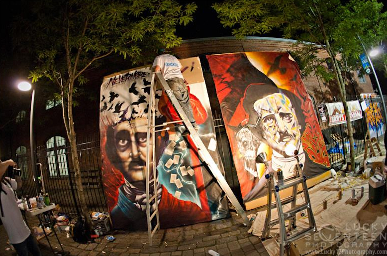 Dueling Muralists at art all night 2014