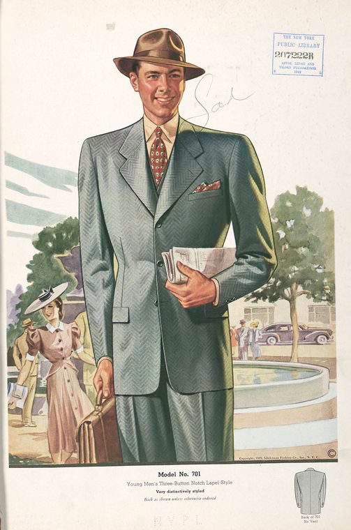 Model No. 701. Young men's three-button notch lapel style.