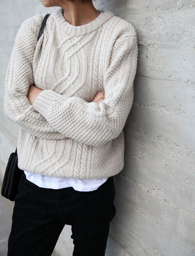 Cable knit and white tee
