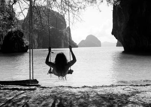 beautiful swing in nature, black and white