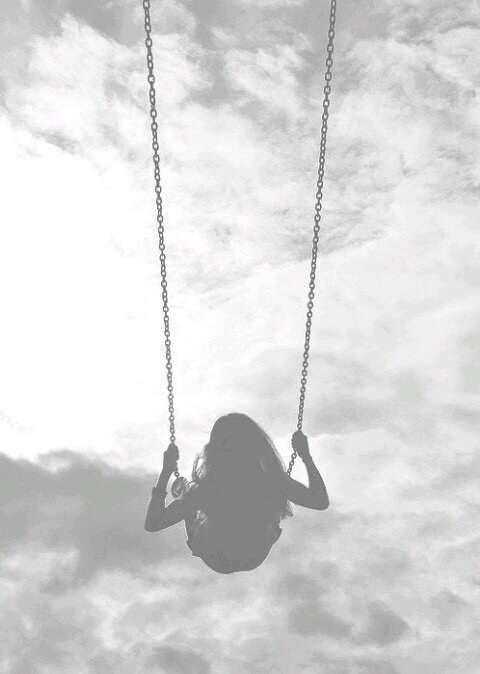 swing in the clouds, black and white, selv