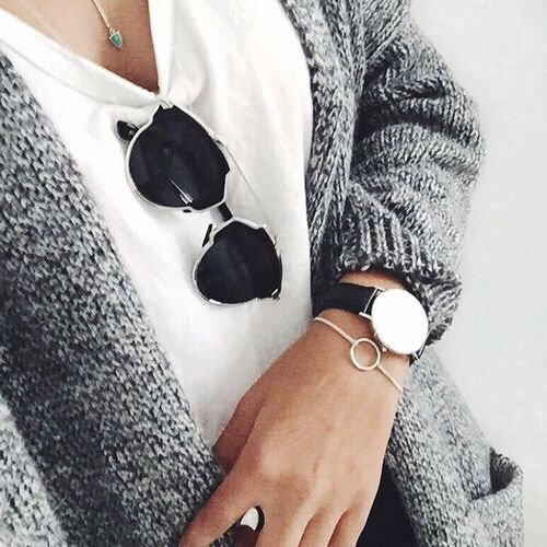 white tee, grey knit, sunglasses, watch