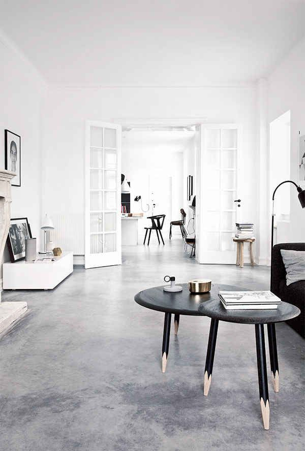 black, white and grey home interior