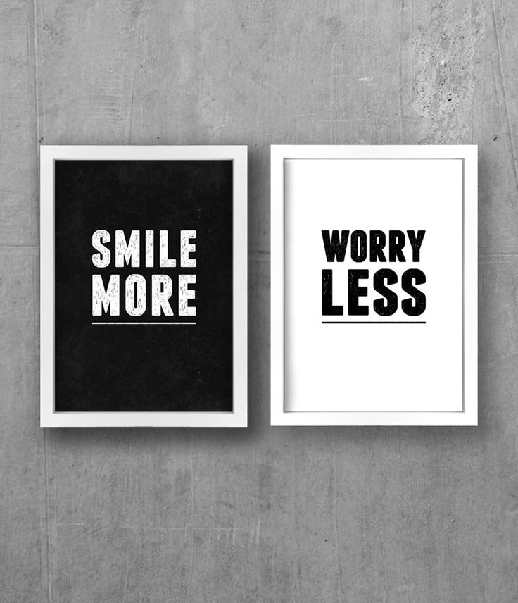 smile more, worry less quote in black and white