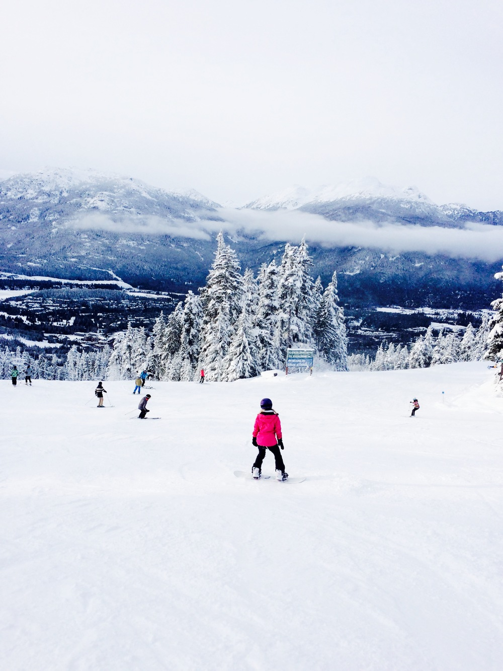 Snowboarding on Whistler Backcomb Mountain