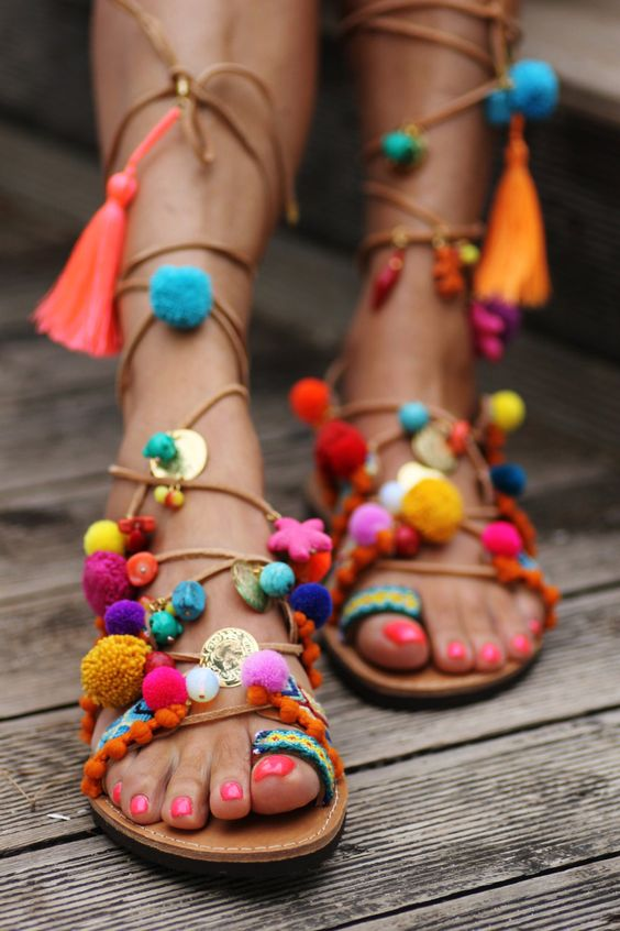 Bright coloured sandals