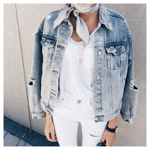 White jeans, white tee and denim jacket