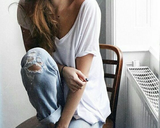 Distressed denim and white t'shirt