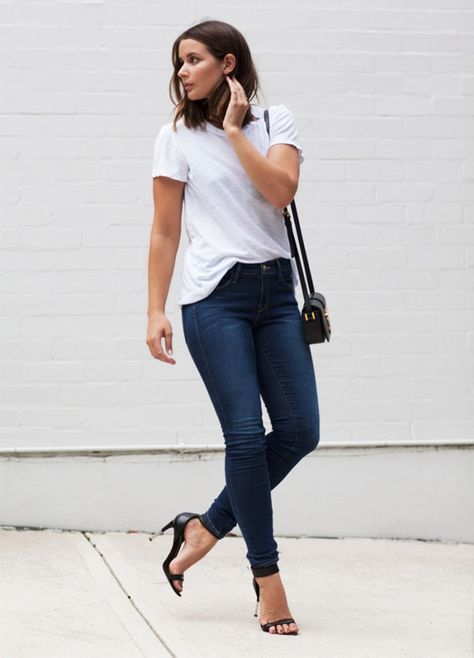 Classic jeans and a white tee