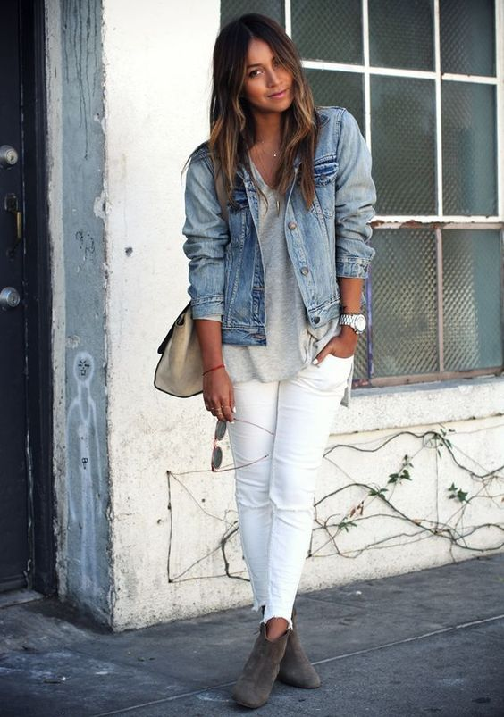 White jeans and a denim jacket