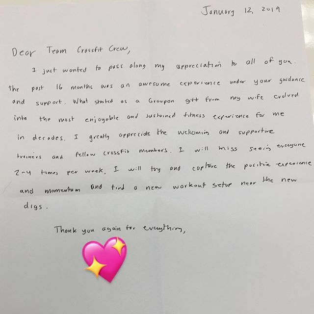 """""""For the strength of the pack is the wolf, and the strength of the wolf is the pack."""" It's letters like this that make our day here at TeamCrossfit. We know that we are stronger united and we thank and value everyone who walks thru our doors. Thanks to all our members, drop-ins and coaches who constantly spread support and love to one another! #community is what we are all about. So grateful for our #FitFam who welcome all, always.  #crossfit #thursdaymotivation #TeamCrossfit #communityiseverything"""