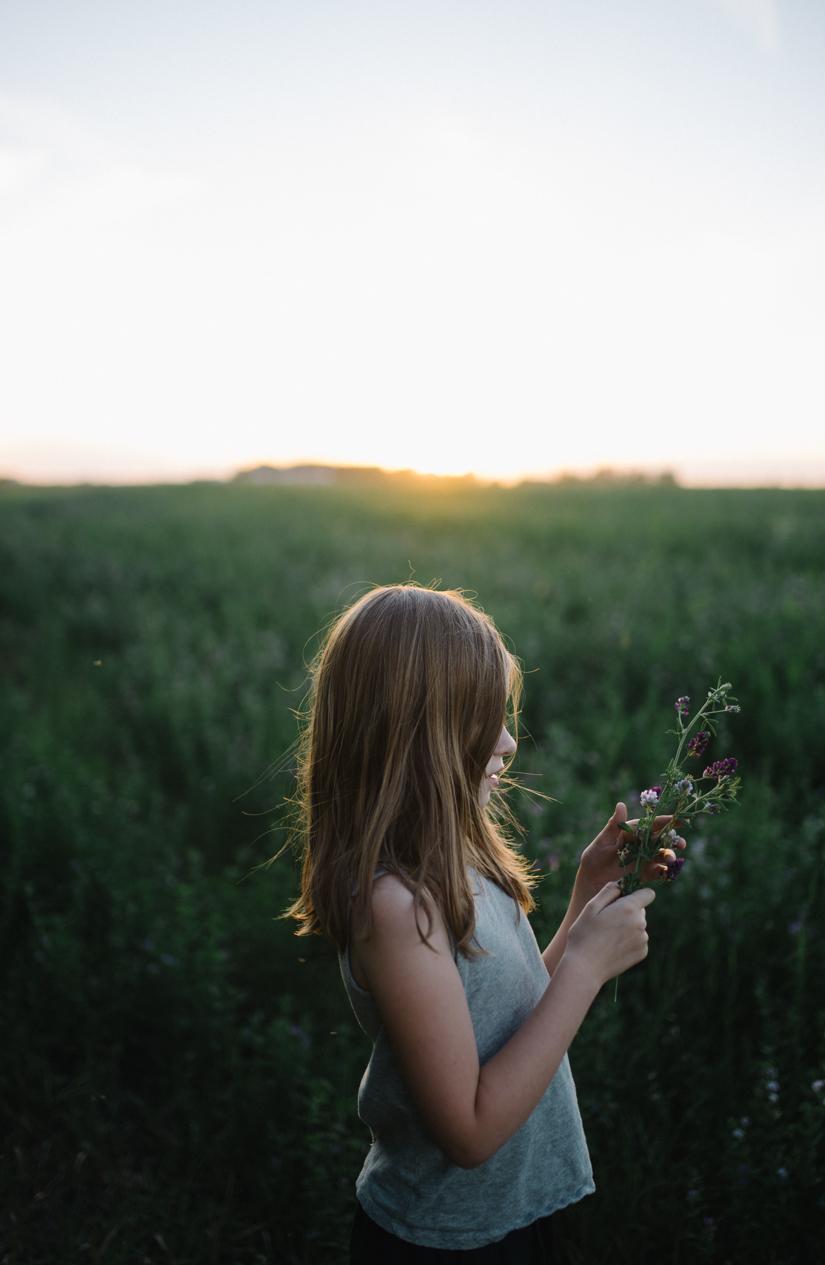 Children Portrait Photographer, Girl at sunset, St. Albert