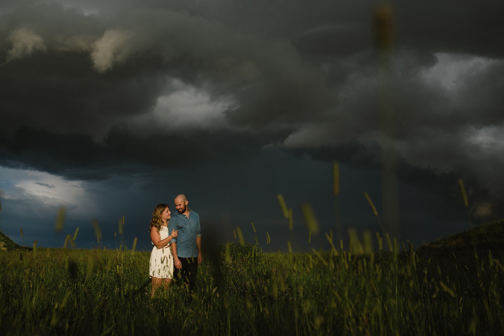 Engagement session during a thunderstorm, St. Albert AB, Jessica Leanne