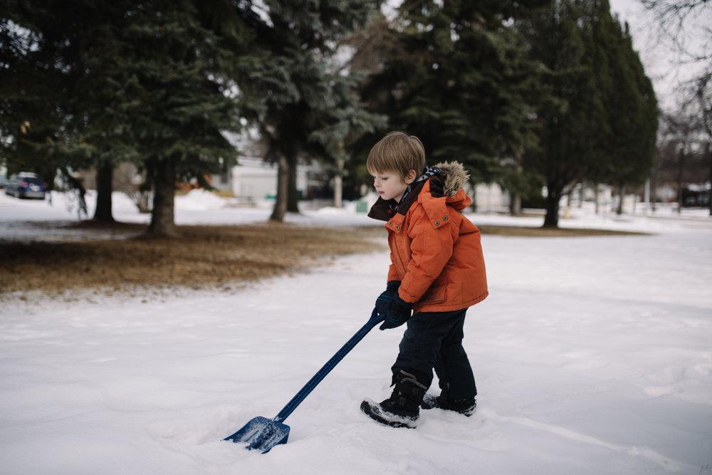 shoveling snow, portrait project, Canadian photographer