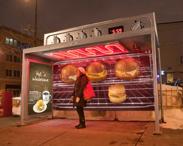 thisbigcity: A good one for winter. urbanination: Caribou Coffee's bus shelter advertising in Minneapolis.