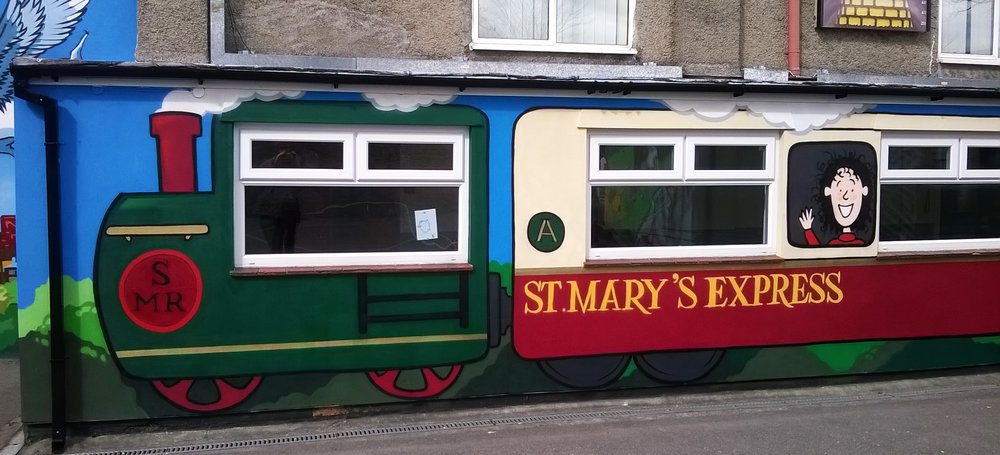 Here the children of St Mary's were given the theme of 'Journey's to School'. Together we came up with lot's of ideas including a train filled with their favourite literary characters.
