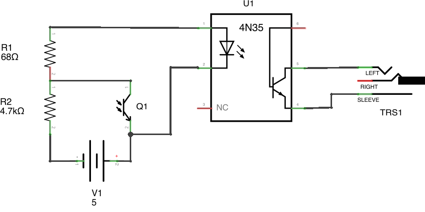 IMPORTANT: Thanks to a couple of people on HN and Reddit for pointing out that I've messed up the polarity of the power supply in this schematic. The breadboard illustration is correct though.