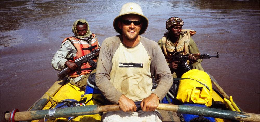 Mark Tanner crossing the Nile. Photo Credit: Les Jickling