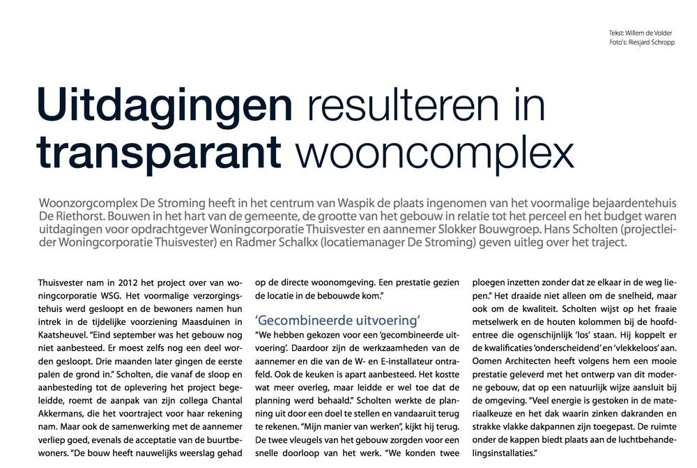 Publicatie in Bouwen aan de Zorg over het woonzorgcomplex De Stroming in Waspik