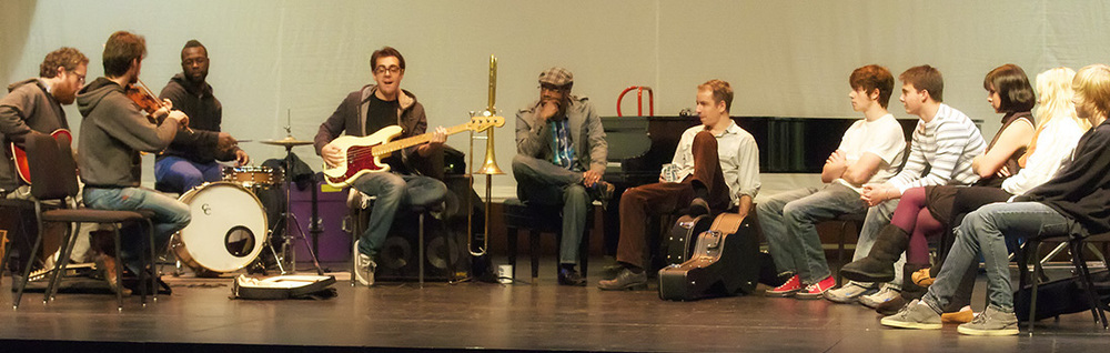 Songwriting workshop with students at Door Countty Auditorium in Fish Creek, Wisconsin. Photo by Len Villano