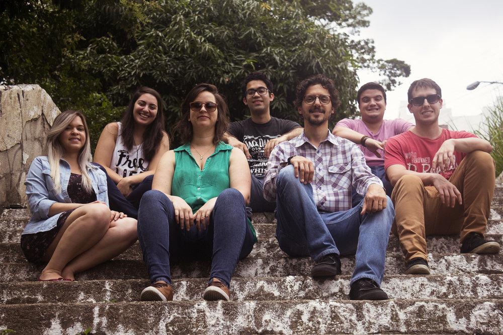 Phiama Lucena, Sarah Dalben, Fernanda Maglione, Bruno Nascimento, Marcelo Aquilino, Guilherme Reggiani e Felipe Alleoni.