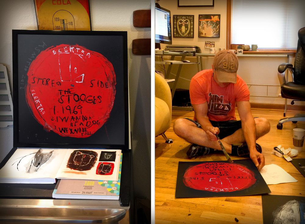 Left: My version of The Stooges debut record from 1969. Right: Painting in the studio.